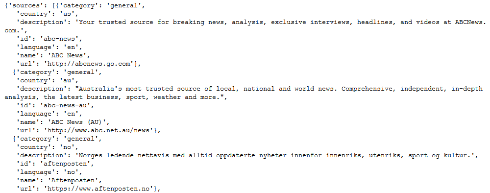 Ergebnis des API Calls im JSON-Format