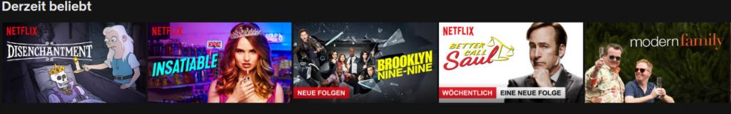 """Netflix Beispiel """"Derzeit beliebt"""""""